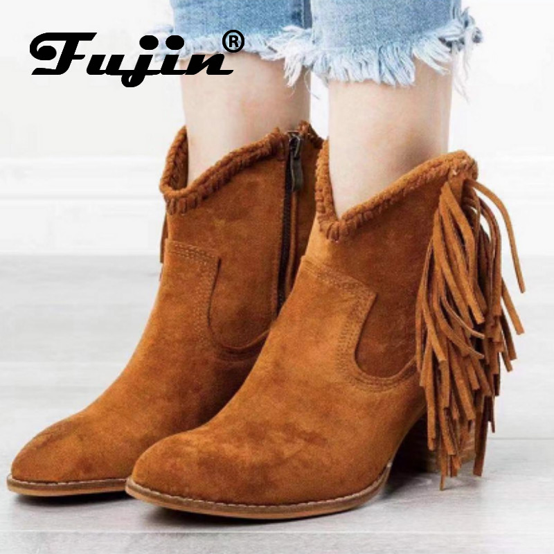 Fujin Autumn Boots Tassel High-Heel Leopard Pointed-Toe Fashion Slip-On Print Ankle Sexy