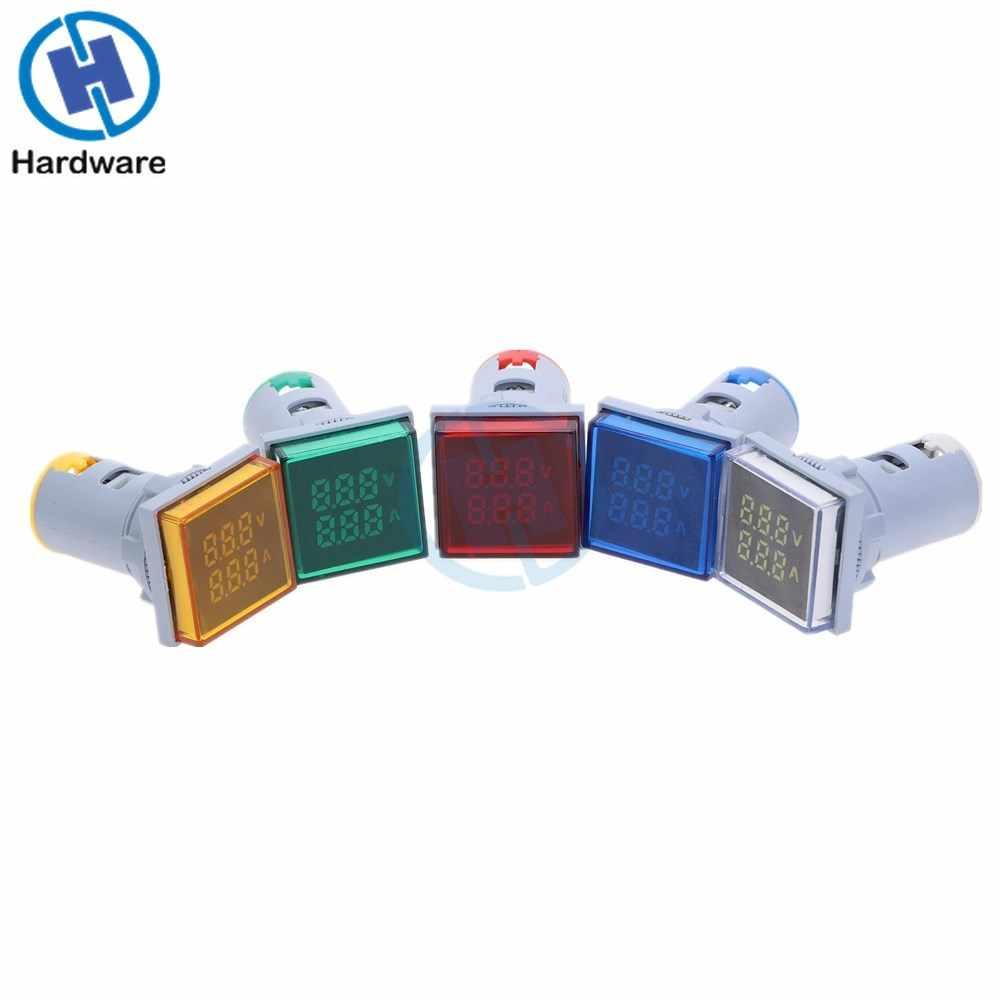 新スクエア LED デジタルデュアルディスプレイ電圧計電流計電圧計電流計測定 AC 60-500V 0-100A