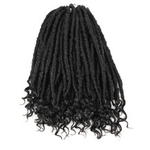 Pageup Goddess Faux Locs Crochet Hair Curly Braiding Hair 16Inch Black Synthetic Crochet Braids Hair Extension 24Strands/PC 12inch goddess faux locs curly ends short wavy crochet braids 12strand pack afro synthetic ombre crochet braiding hair extension
