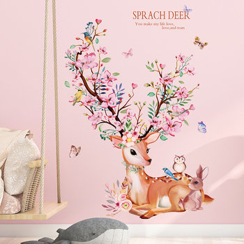 Deer Rabbit Animal Wall Stickers DIY Flowers Wall Decals for Kids Rooms Baby Bedroom Nursery Home Decoration