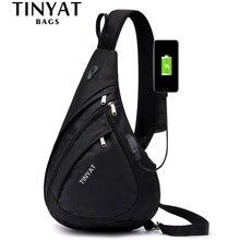 TINYAT yeni erkek askılı omuz çantası anti hırsızlık Crossbody çantası 9.7 Pad USB şarj su geçirmez seyahat Messenger rahat göğüs çanta
