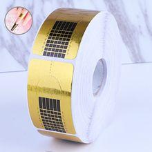 Sıcak satış 100 adet/takım fransız tırnak formu İpuçları altın tırnak uzatma sanat araçları için çivi jel uzatma Sticker akrilik manikür İpucu