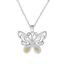 Strollgirl New Arrival 925 Sterling Silver Luxury Elegant Butterfly Pendant Necklaces with CZ  for Women Valentines Day Gift