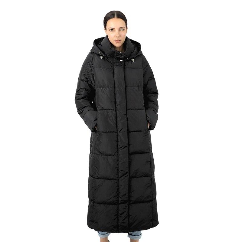 Хлопковая женская пуховая куртка, длинная парка, верхняя одежда north с капюшоном, теплое пуховое Стеганое пальто для женщин, большие размеры, ...