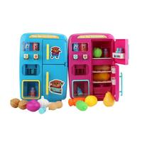 Kids Pretend Play Toy Double Door Refrigerator Toy With Light Sound Simulation Vending Machine Plastic Fruit Vegetable Nuts Toys