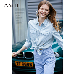 Amii Minimalist Denim Blouse Spring Women Lapel Loose Solid Female Shirt Tops 11940110
