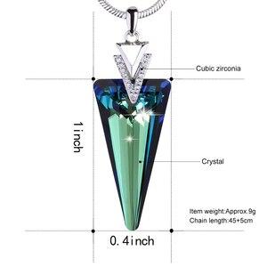 Image 5 - Isıtıcı Farben Swarovski gelen kristal üçgen kristal kolye kolye yılan zinciri ile güzel takı hediye bayan Collares