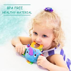 Image 2 - Animaux main cloches anneau de dentition hochet poupée en peluche bébé hochets jouets infantile Newbron éducation précoce jouets singe Panda Lion chien