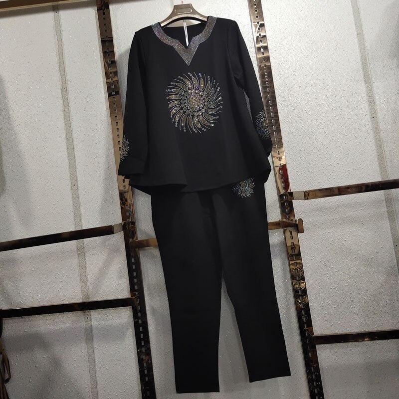 Plus Sized Womens Pants Sets Two-piece Set Hot Drilling Cotton Tshirt + Elastic Waist Pants Ropa Mujer Conjunto Feminino
