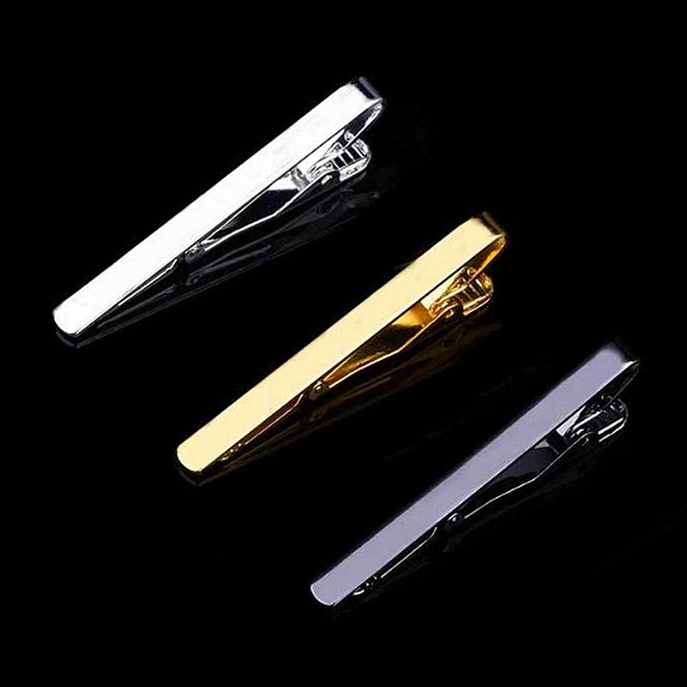 1 Pcs Fashion Style Tie Clip For Men Metal Silver Gold Tone Simple Bar Clasp Practical Necktie Clasp Cufflinks Tie Clip