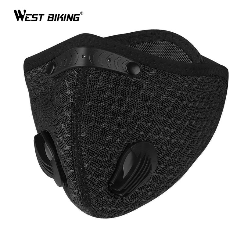 WEST BIKING Bike Face Mask PM2.5 Anti Pollution Activated Carbon Filter Washable Cycling Sport Mask Bicycle MTB Road Bike Mask