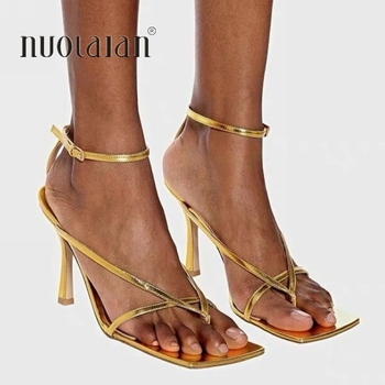 2020 Summer New Fashion Pinch Narrow Band Women Gladiator Sandal Shoes Ladies Square Open Toe Ankle Buckle Strap Stiletto Heels