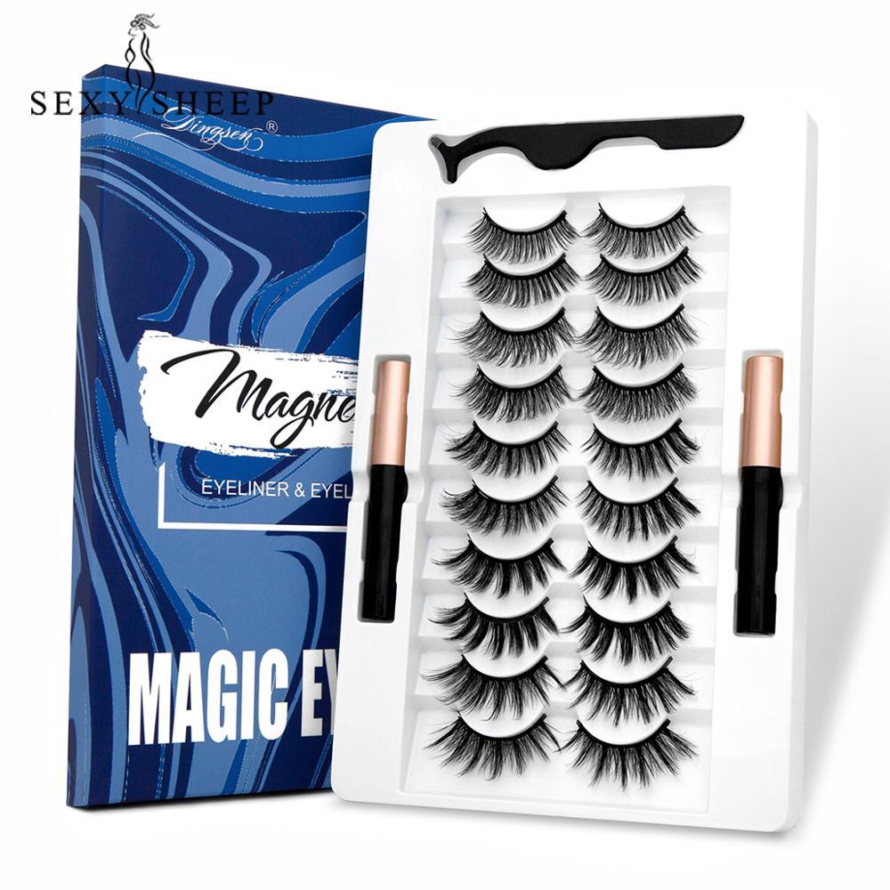 5/7/10 paar Augen Wimpern Magnetische Wimpern und Eyeliner Set Natürliche Falsche Wimpern Magnet Verlängerung Flüssigkeit Eyeliner & Pinzette set