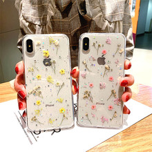 Haaa Dried Flowers Glitter Clear Phone Case for IPhone 8 7 Plus 11 Pro Max X XS XR 3D Daisy Transparent Soft TPU Cover недорого