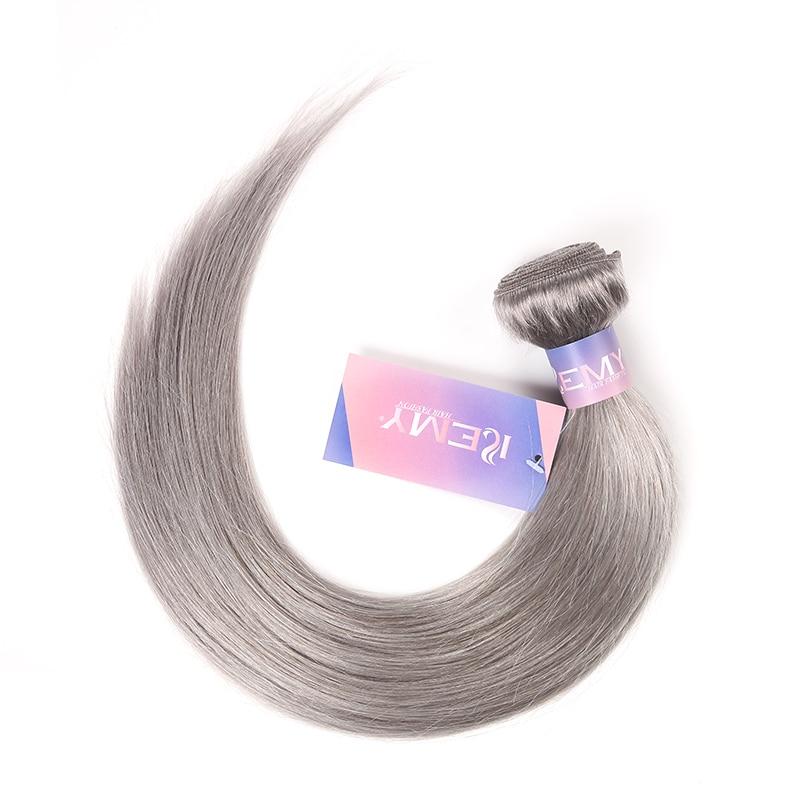 Silver Grey Brazilian Hair Weave Bundles KEMY 1PC Pink Human Hair Bundles 10-26inch Human Hair Extension Non-remy Hair Bundles