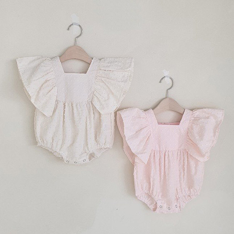 2020 Solid Color Summer Newborn Infant Baby Girl Bodysuit Fly Sleeve Jumpsuit Outfits Baby Girl Clothes