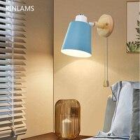 Moderno de madeira 5 cor lâmpada parede cabeceira e27 lâmpada de parede nordic quarto sala estar macaron lâmpada de parede