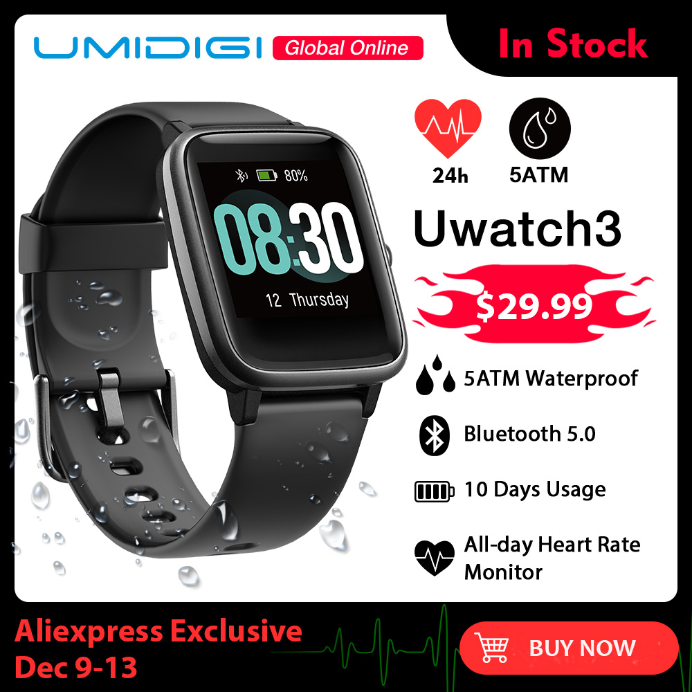 UMIDIGI Uwatch3 Smart Watch Men Women 5ATM Waterproof Fitness Tracker Sport Band Heart Rate Sleep Monitor For Android IOS Reloj