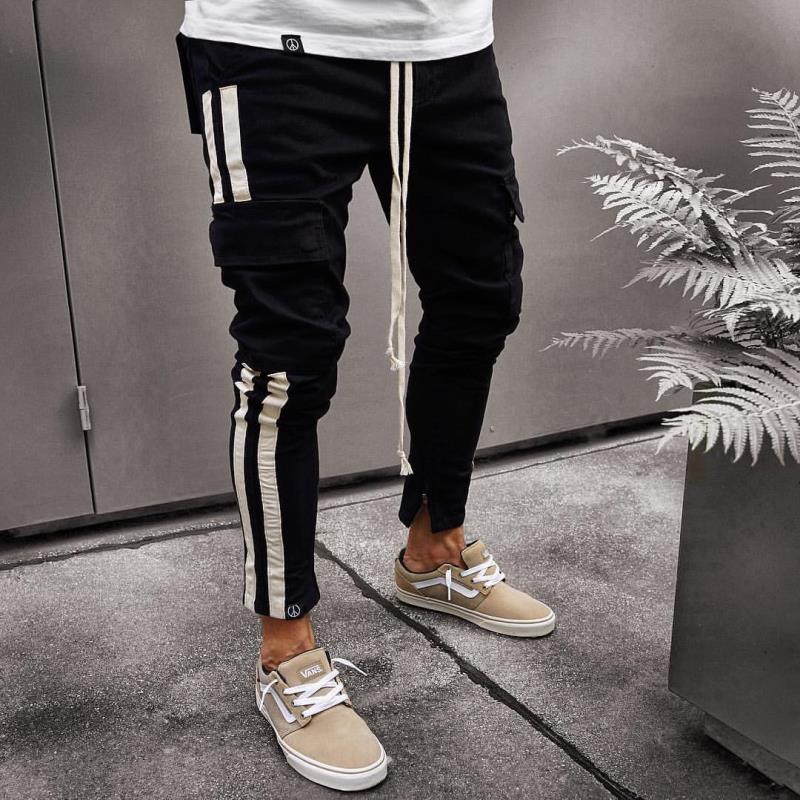 Mens Cool Designer Brand Pencil Jeans Skinny Ripped Destroyed Stretch Slim Fit Hop Hop Pants  For Men Side Striped Printed Jeans