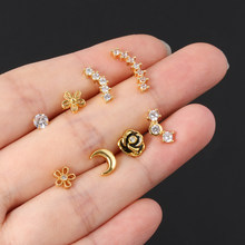 1Pc Silver Gold Piercing Earrings Cartilage Ear Stud Stainless Steel Helix Tragus Studs Cz Zircon Rose Flower Moon Body Jewelry(China)