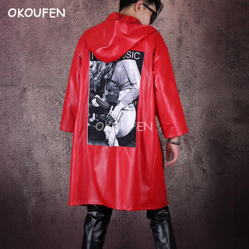 2019 New PU Loose Cloak Stage Performance Hip Hop Dance Costume Nightclub Male Singer Red Leather Windbreaker Hooded Jacket Coat