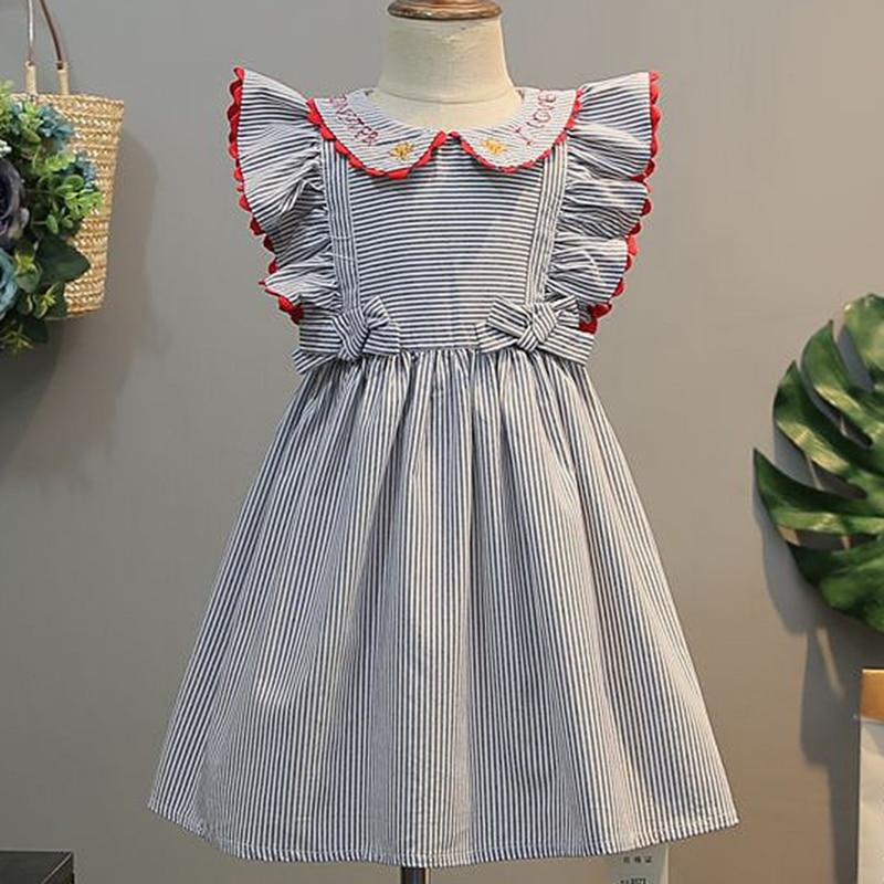 2021 New Summer Baby Girls Princess Dress Kids Wedding Party Dresses Children Embroidery Stripe Elegant Dress Cotton Clothing 1