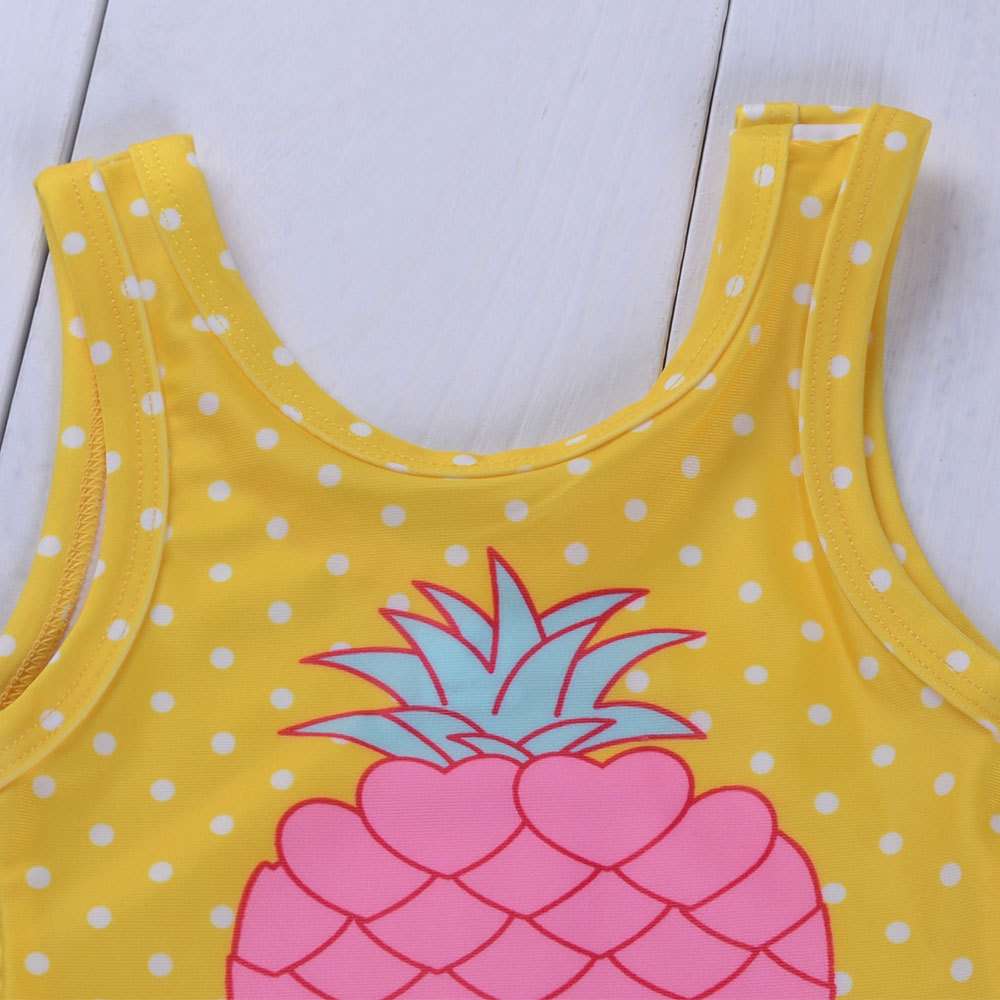 Summer New Style Girls Pineapple Printed Bathing Suit Western Style Children's Swimsuit
