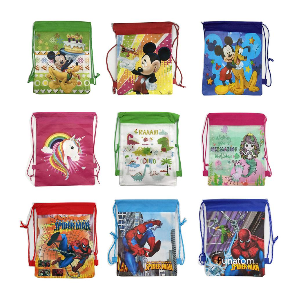 Christmas Gift Bag Cartoon Mickey Spideman School Backpack For Boy,Girl Unicorn Drawstring Bag Student Book Bag Kids School Bag
