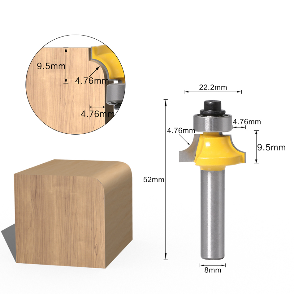 1//4/'/' Shank R2mm Radius Roundover Bit Wood Milling Cutter Fits for Plywood