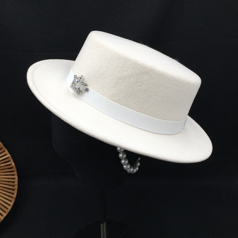 New England Socialite Lady About Hat White Wool Felt Hat Joker Party Essence Absorption Tidal Flat Top Hat