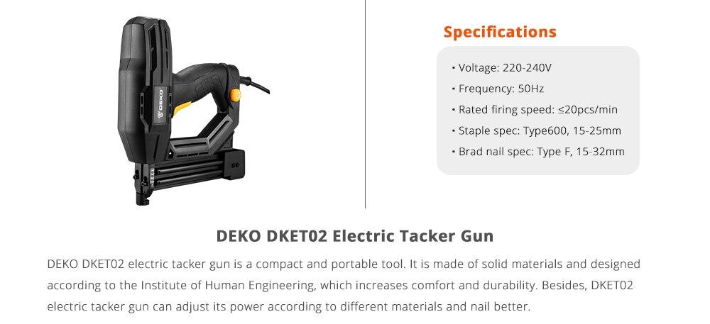 DEKO DKET02 Electric Tacker Specification