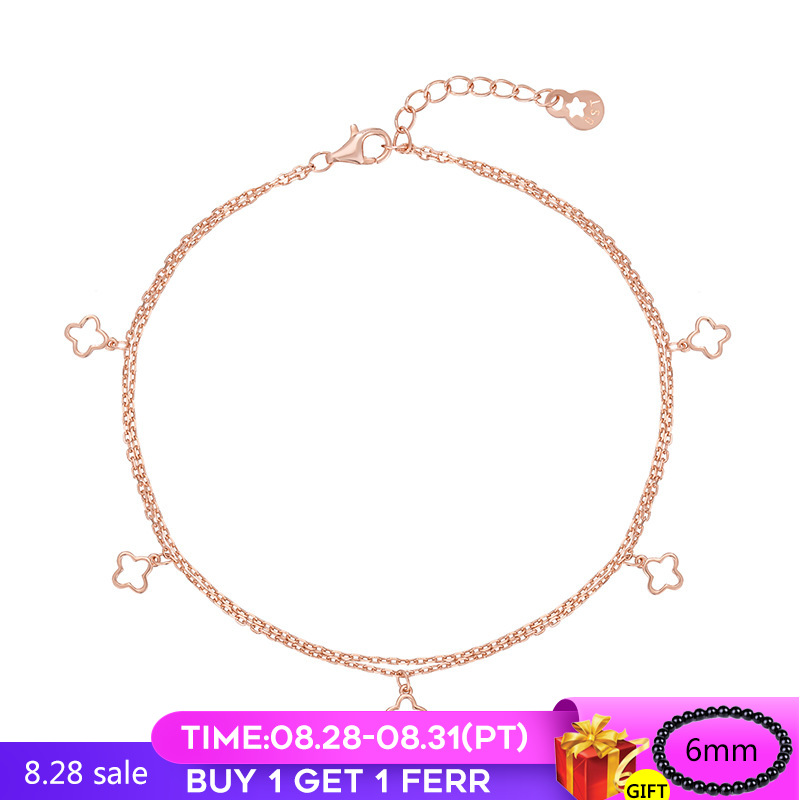 sterling silver Anklet rose gold four-leaf grass footchain sweet 925 silver hollow double-layer for women mother Fine Jewelry