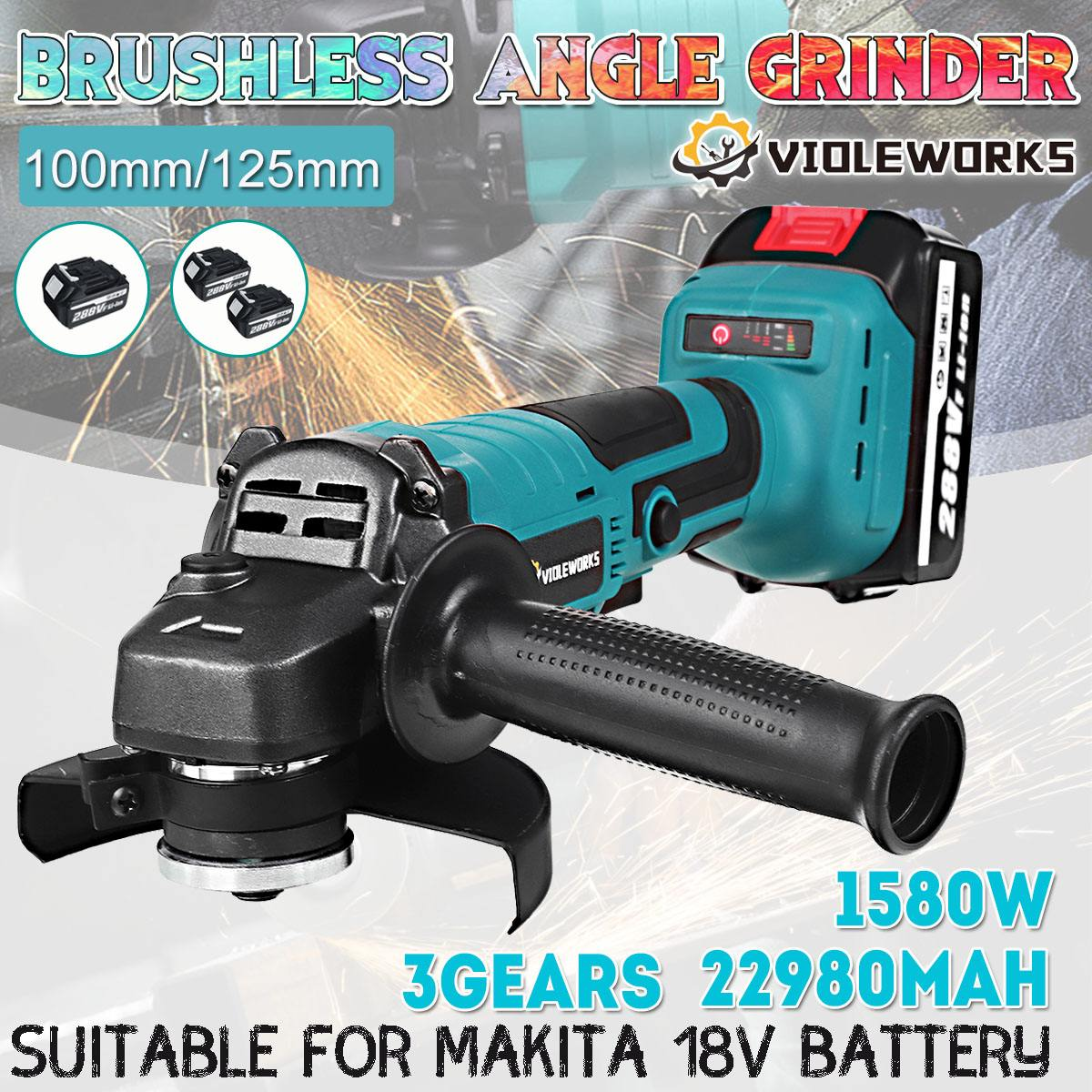 288VF 100mm/125mm Brushless Angle Grinder Li Battery Cordless Angle Grinder Machine Electric Power Tools For Polishing Cutting