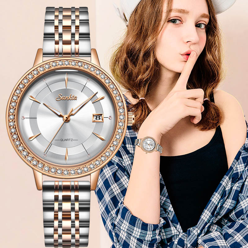 2020 Classic Women Rose Gold Top Brand Luxury Laides Dress Business Fashion Casual Waterproof Watches Quartz Calendar Wristwatch(China)