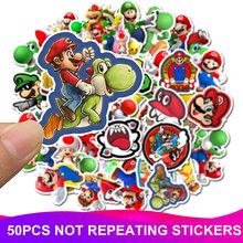 50pcs/Pack Cartoon Super Mario Stickers PVC Waterproof Laptop Travel Suitcase Motorcycle Car Styling Funny Sticker Classic Toy