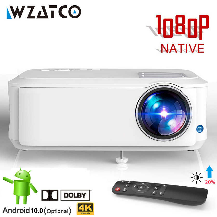 WZATCO T59 4K Proyektor Full HD Asli 1080P Android 10.0 Wifi Smart Home Cinema Video LED Projector Portable HDMI Film Beamer