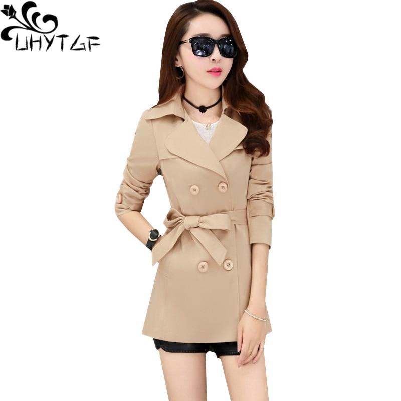 UHYTGF female trench coat fashion belt double breasted autumn windbreaker women solid color wild casual short coat plus size 898