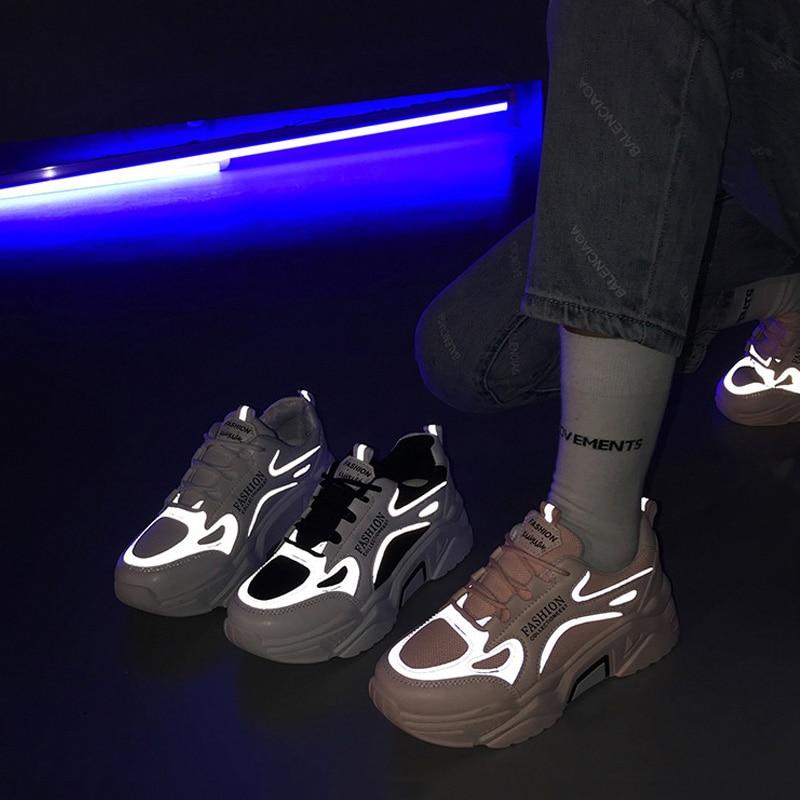 Reflective Chunky Sneakers Spring Women Vulcanize Shoes Comfort Women Shoes Breathable Mesh Platform Sneakers Fashion Women Flat
