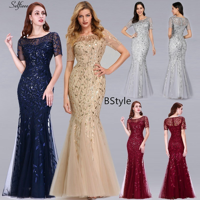 Image 5 - New Arrival Elegant Women Dresses V Neck Sparkle Mermaid Bodycon  Maxi Summer Dresses For Party Vestidos De Fiesta De Noche 2020Dresses