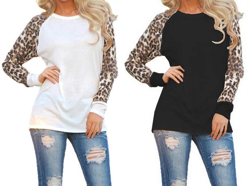 Tshirt 여성 2019 새로운 가을 쉬폰 표범 패치 워크 느슨한-긴팔 캐주얼 티셔츠 여성 vestidos dropshipping NXB1078
