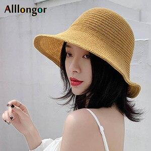 Sol de verano tapa plegable de ala ancha sombrero de paja de playa 2019 coreano de punto sombrero con forma de cubo para mujer sombrero de bob sombrero de pescador sombrero de copa negro