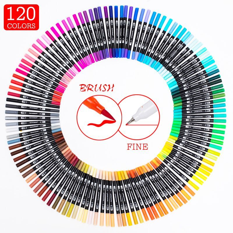 12/24/36/60/72/100/120 Colors Dual Tip Brush Marker Pens With Fine-Liner Tip 0.4mm For  Sketching School Art Supplies