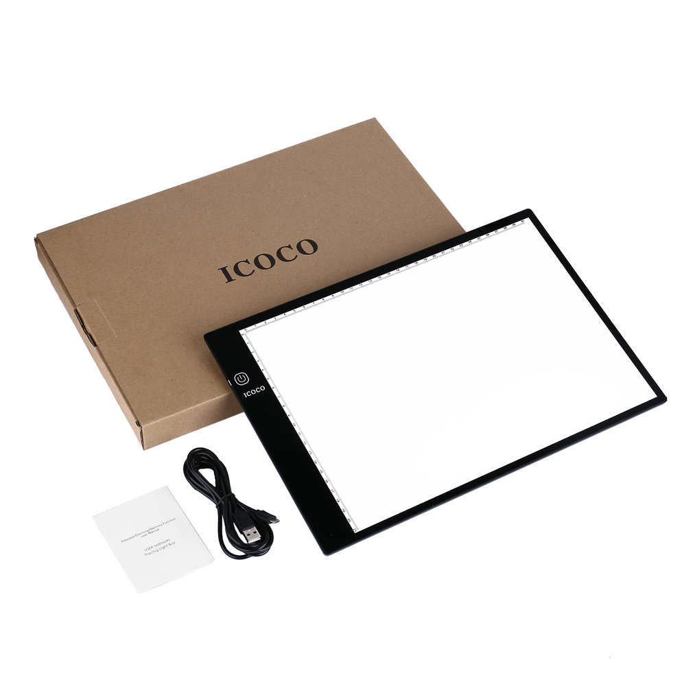 Ultra-thin A3/A4 Light Box 3-level Stepless Dimming USB Port LED Indicator Memory Function Eye-protecting Tracing Light Pad