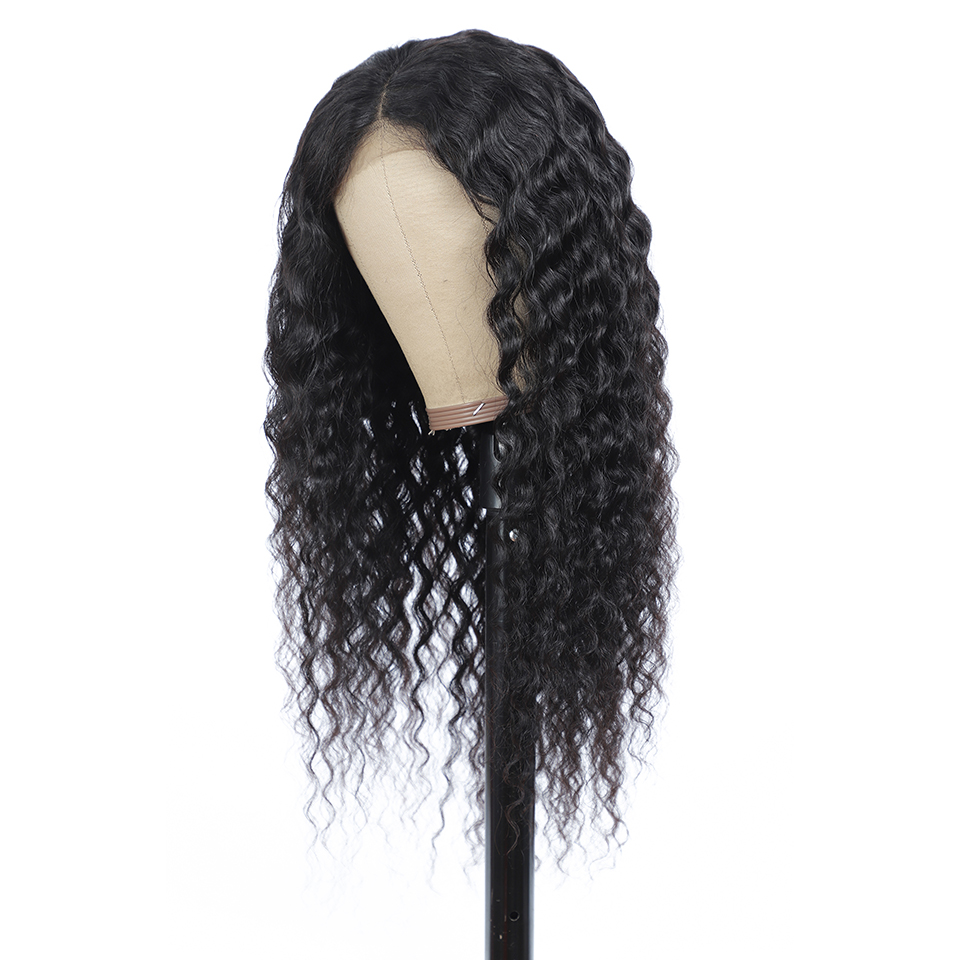 4x4 Lace Closure  Wigs  Water Wave Wig Part Lace Wig  Pre Plucked  Deep Curly Wig Natural Color 3