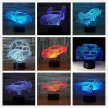 цены Racing Car Formula Ferrari 3D Lamp Light 7 Colors Change Optical Illusion Touch Table LED Baby Sleep Night Light Kids Gifts Xmas
