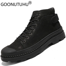 Autumn winter Fashion men's ankle boots genuine leather black boot new work & safety shoes for men young military boots shoe man genuine leather winter men boots military top quality winter boots 2018 new safety shoes brand