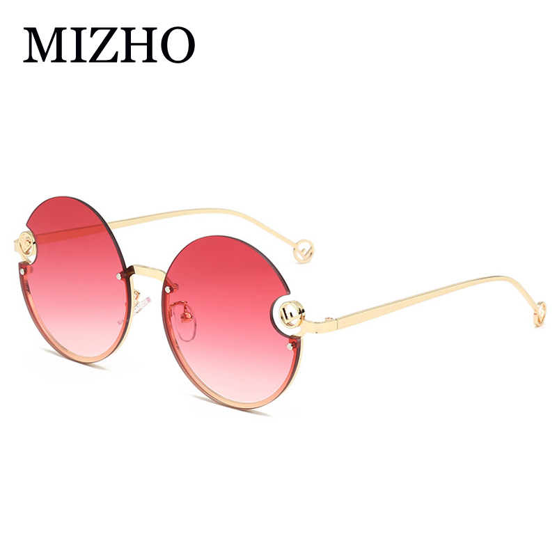 MIZHO 2020 New Luxury Brand Design Lady Round Sunglasses Women Cutting Lens Vintage Ocean Sun Glasses Rimless