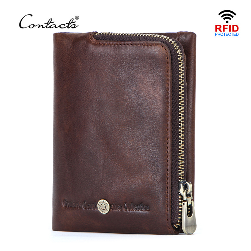 CONTACT'S New Small Wallet Men Crazy Horse Wallets Coin Purse Quality Short Male Money Bag Rifd Cow Leather Card Wallet Cartera title=