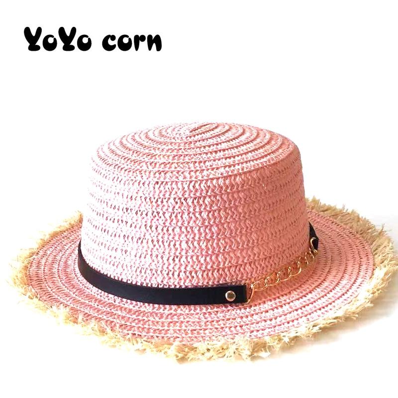 YOYOCORN Vacation Panama straw hat women wide brim Beach jazz men hats Foldable Chapeau Black belt raffia Summer unisex sun cap