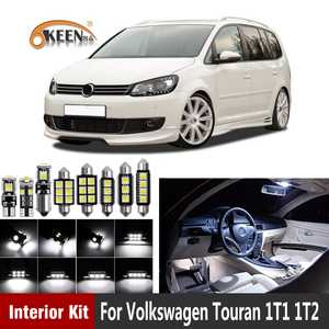 14pcs White Canbus Error Free Car Led Interior Light Kit For Volkswagen for Touran 1T1 1T2 2003-2010 Map Dome Trunk Lamp
